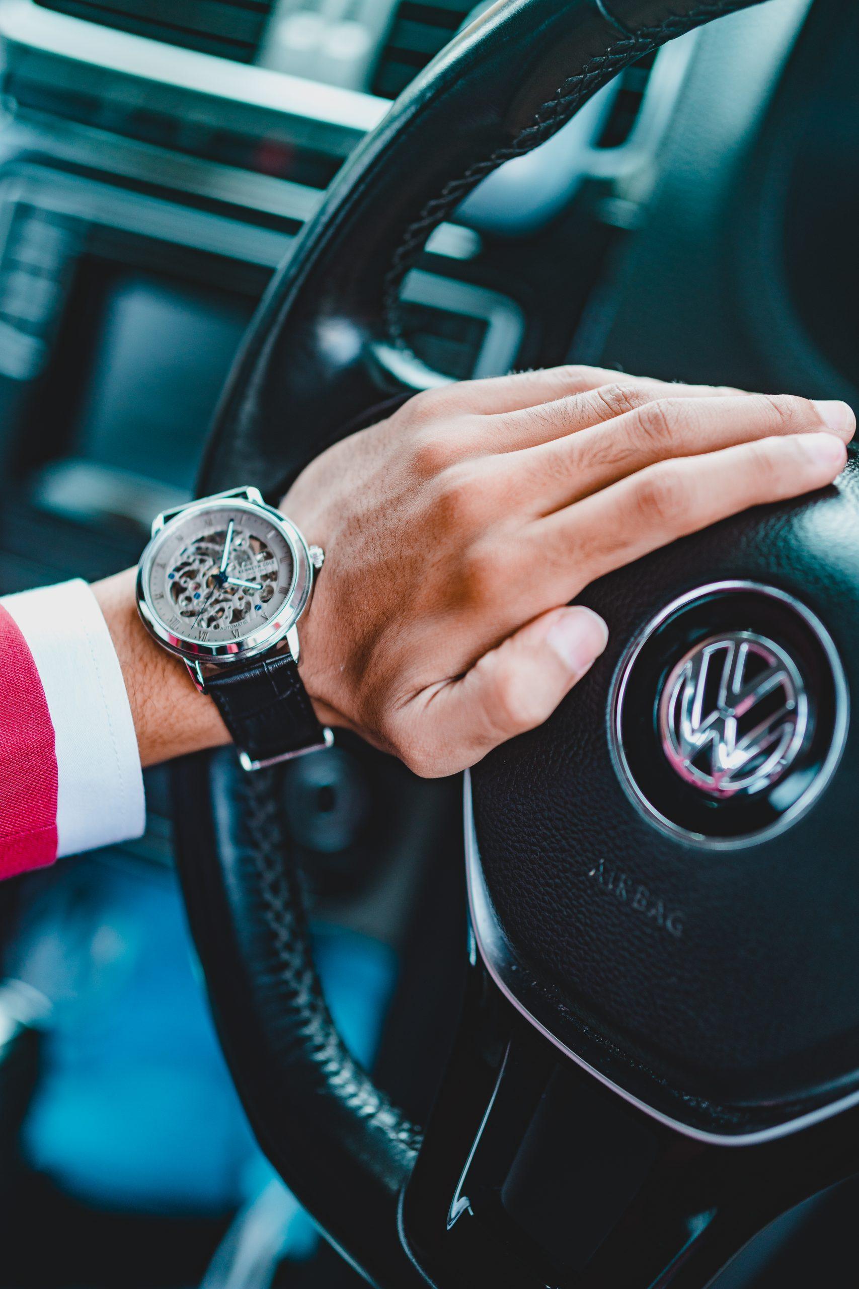 Wrist watch and steering wheel