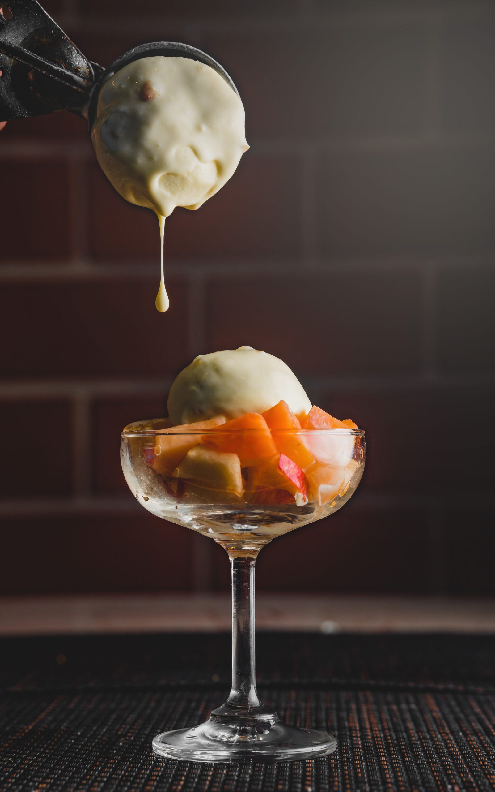 ice cream and fruit in glass