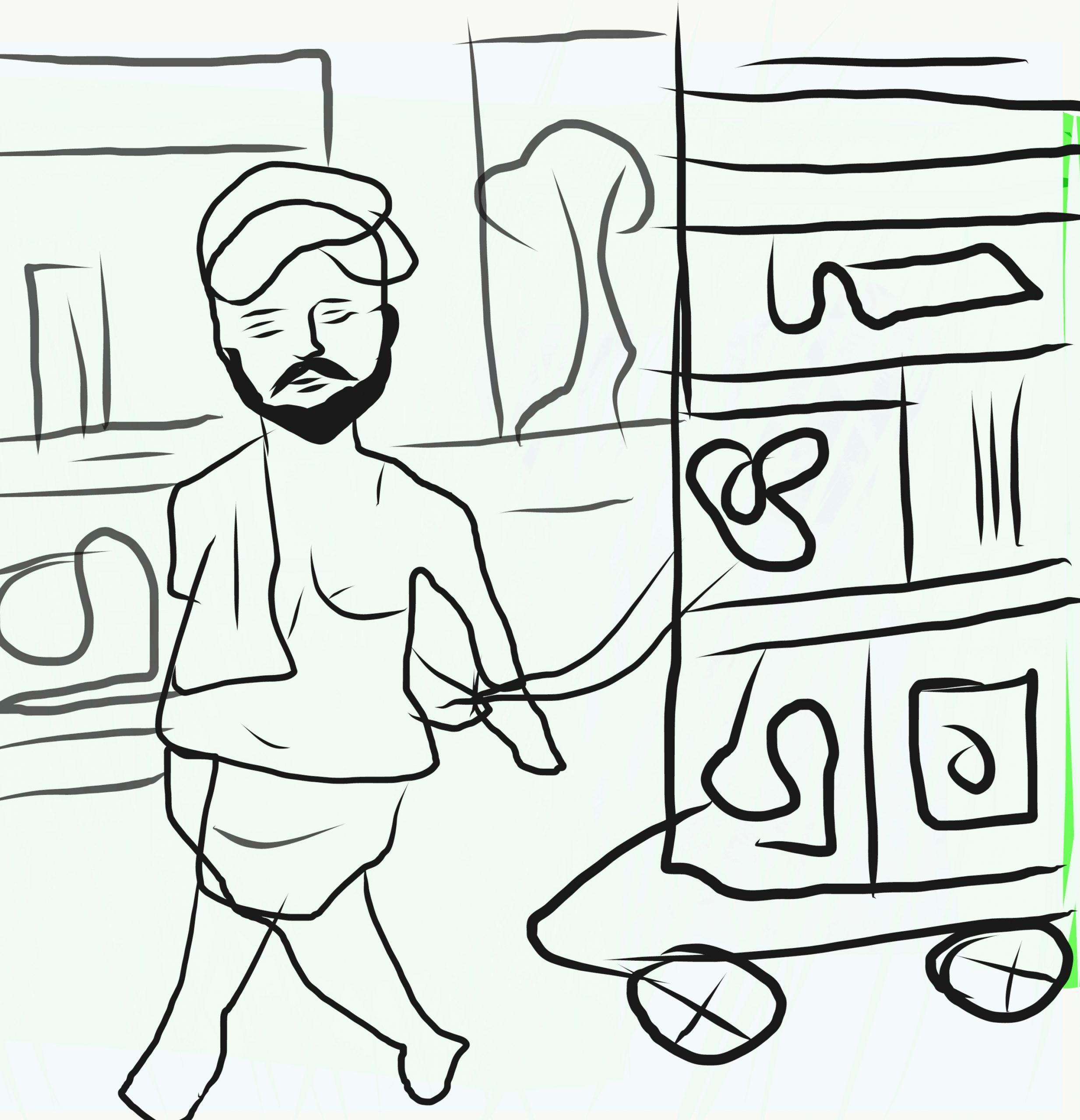 A rickshaw puller man