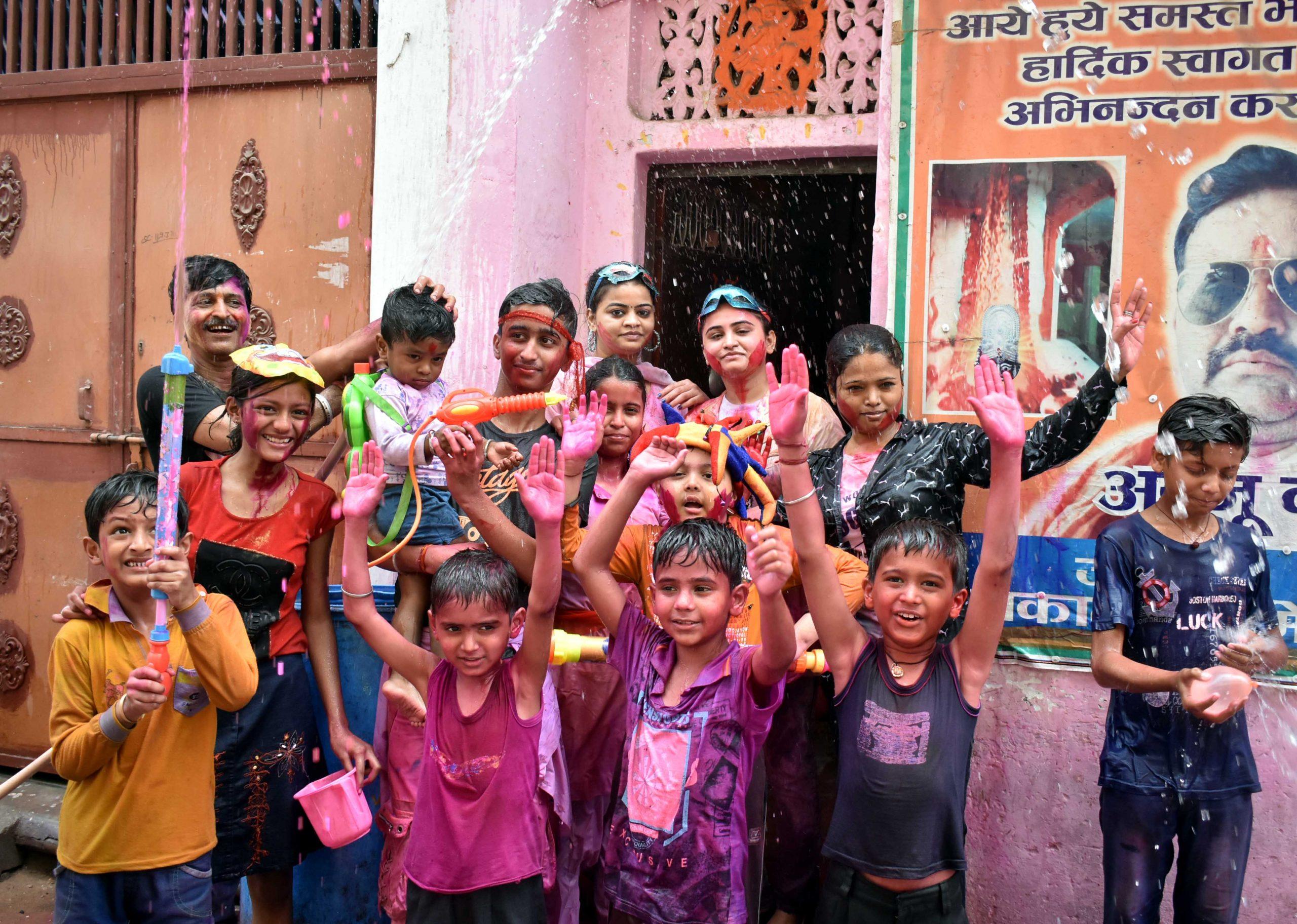 Children celebrating holi festival
