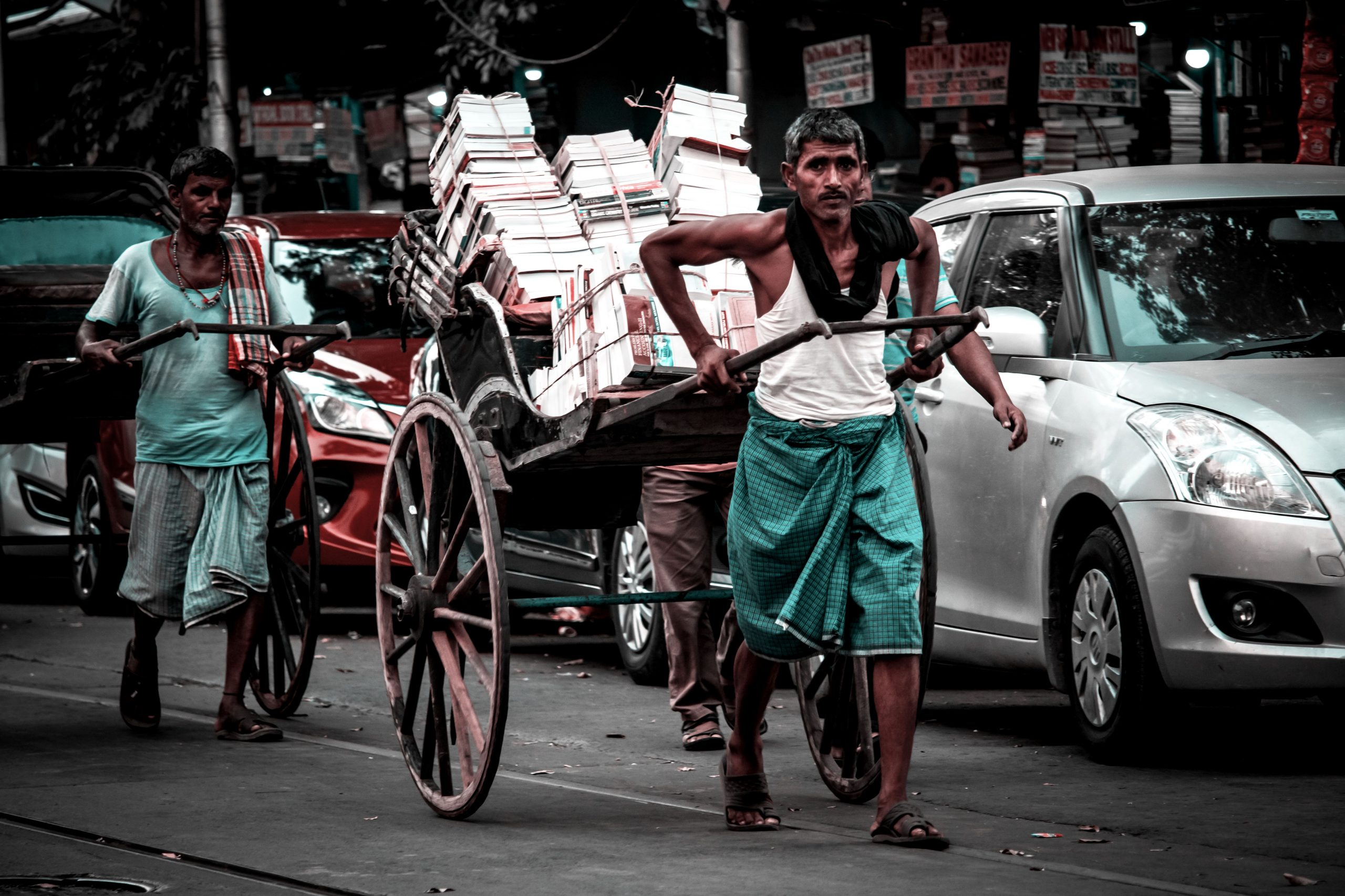 Load on a pulled rickshaw