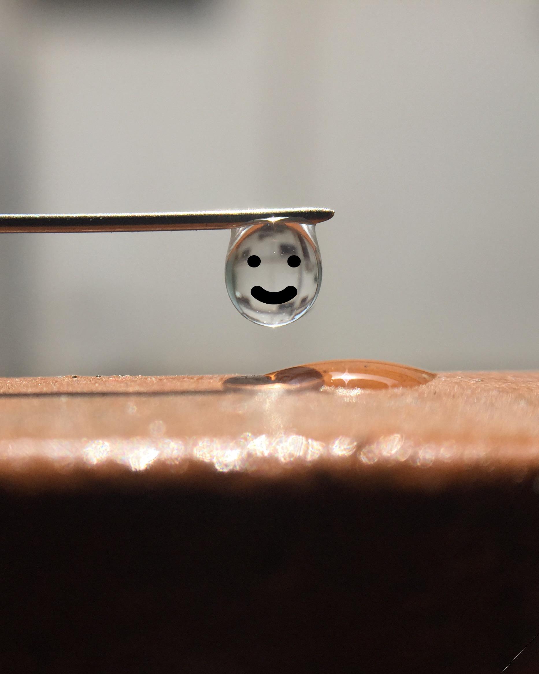 smiley waterdrop on needle