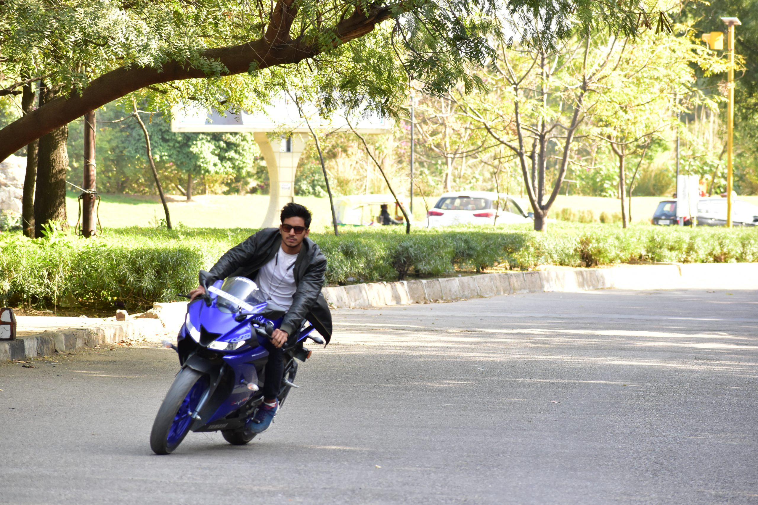 A boy riding Yamaha R15