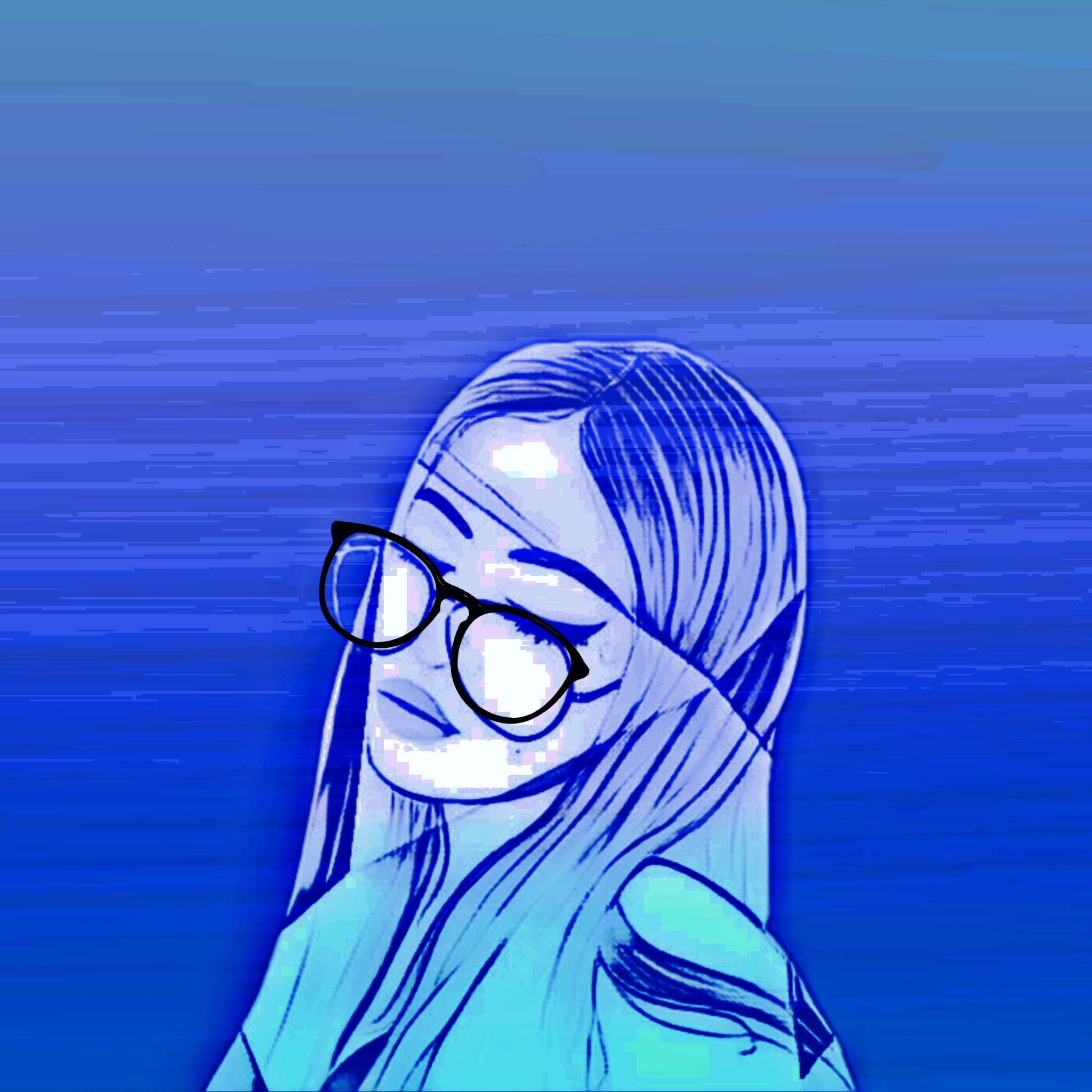 A girl wearing sunglasses illustration