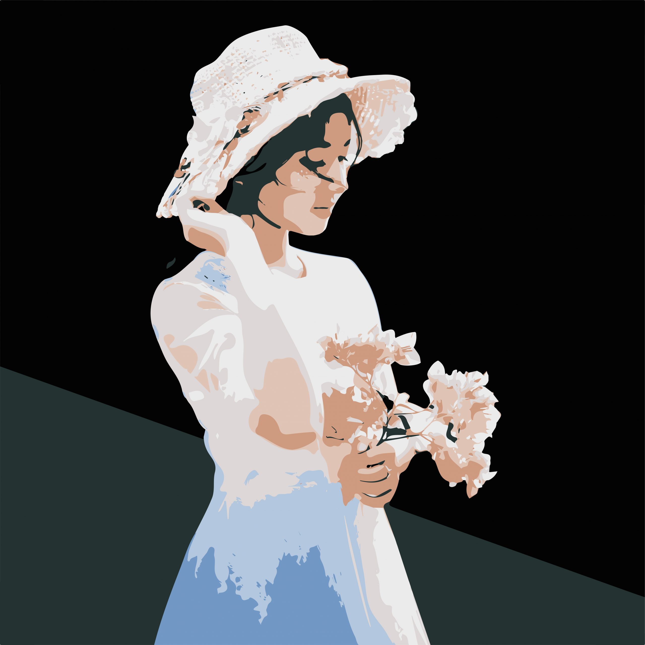 A girl with flowers illustration