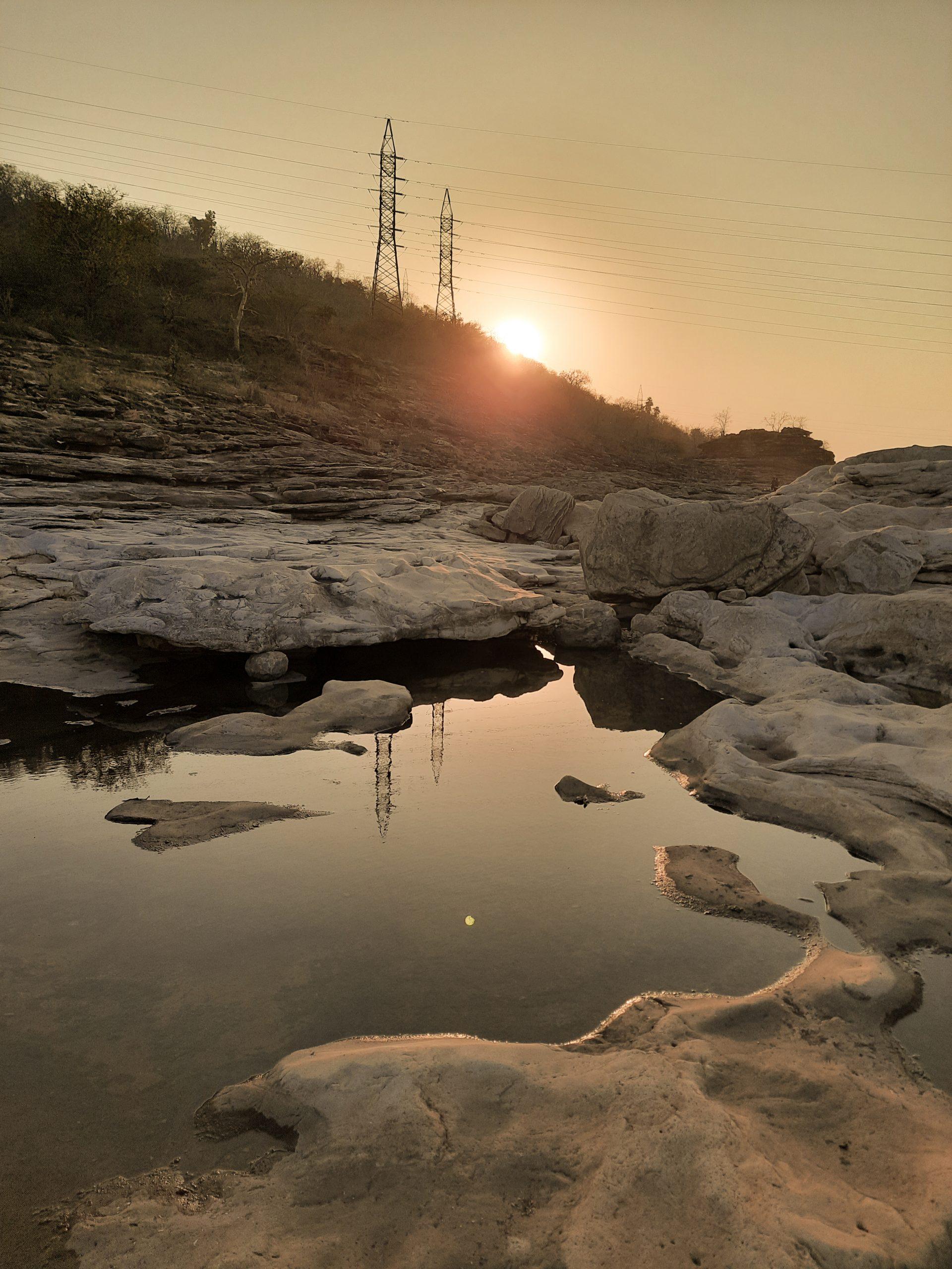 Accumulated water around rocks