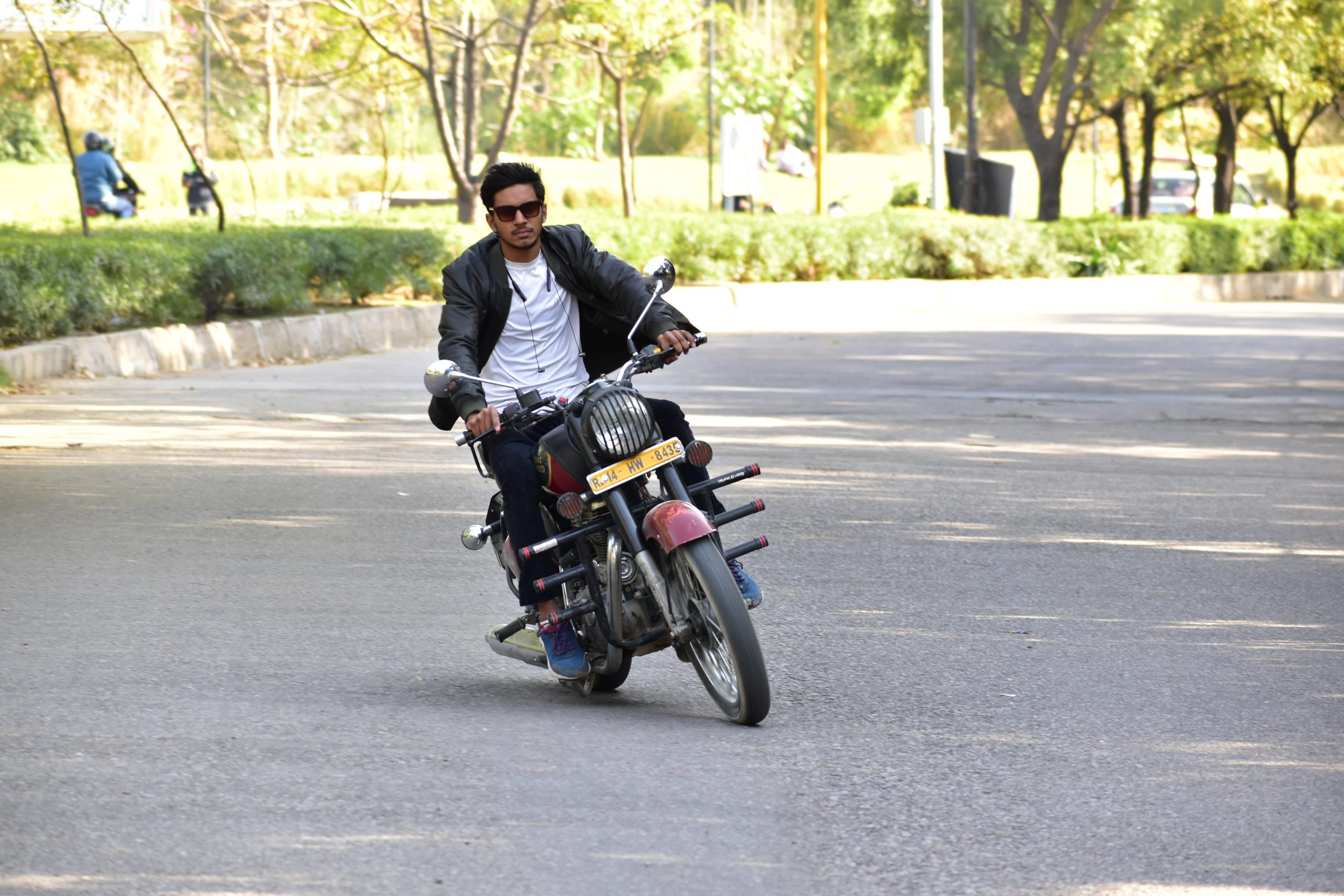 Boy riding Royal Enfield