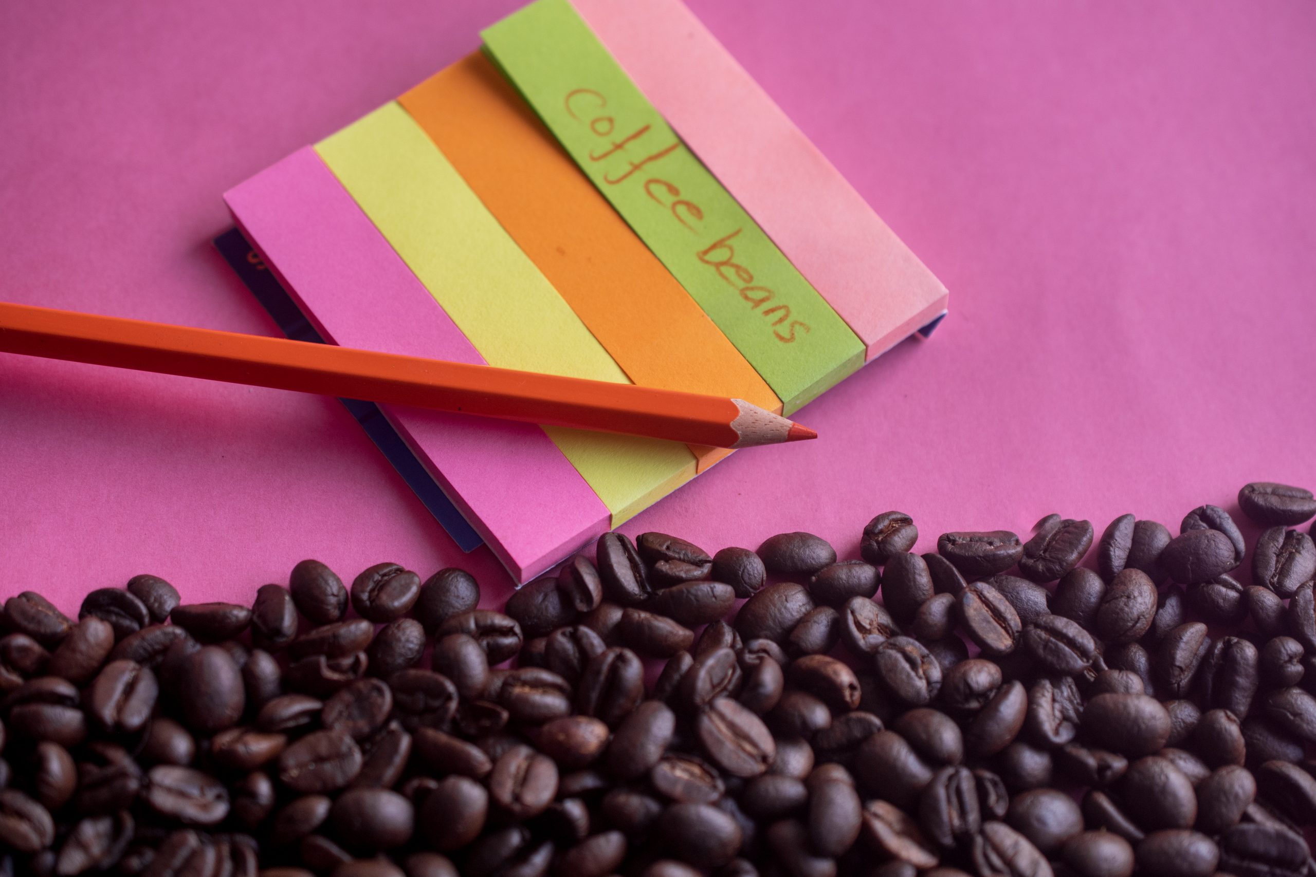 Coffee beans and paper tag