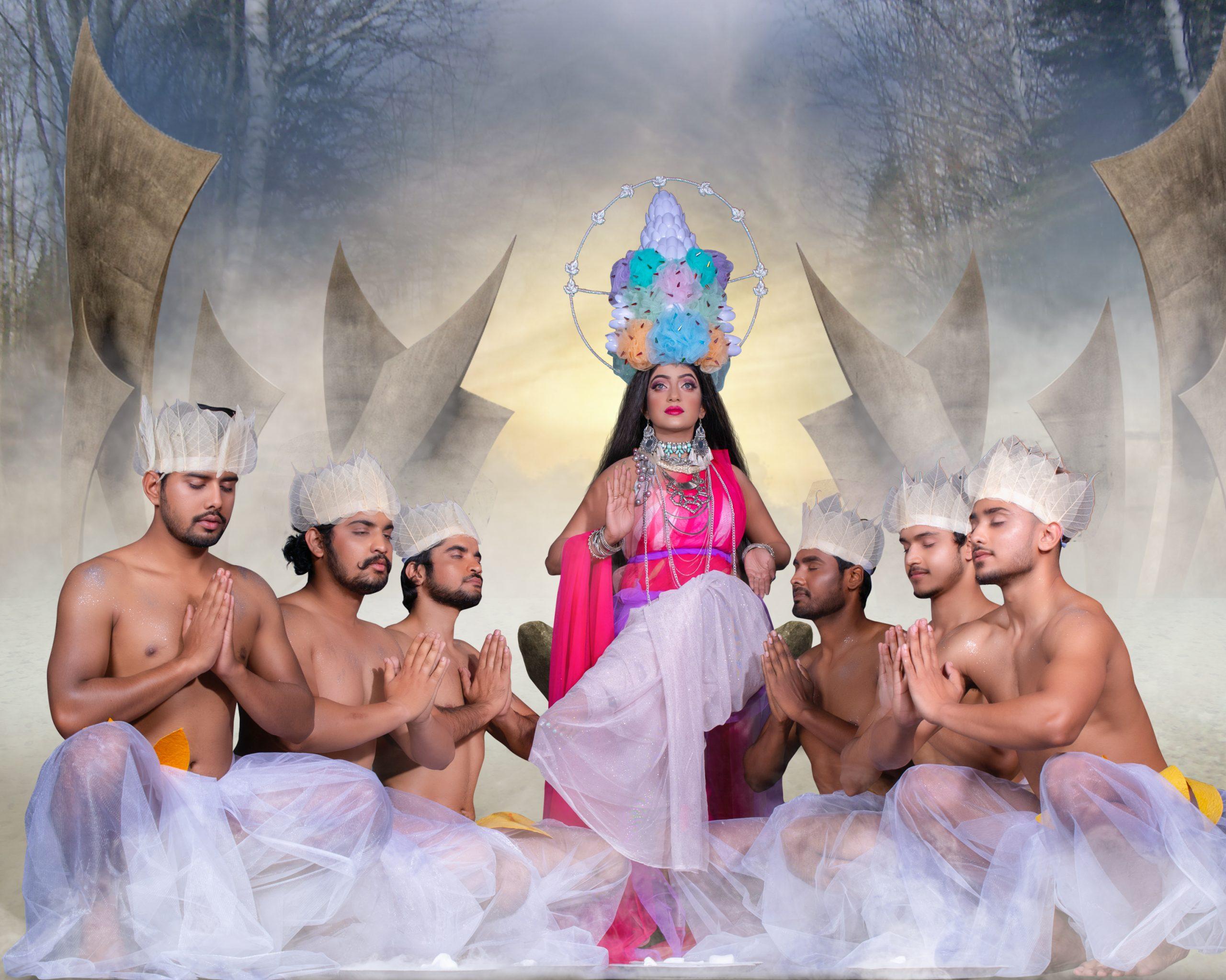 Devotees offering prayer to Goddess