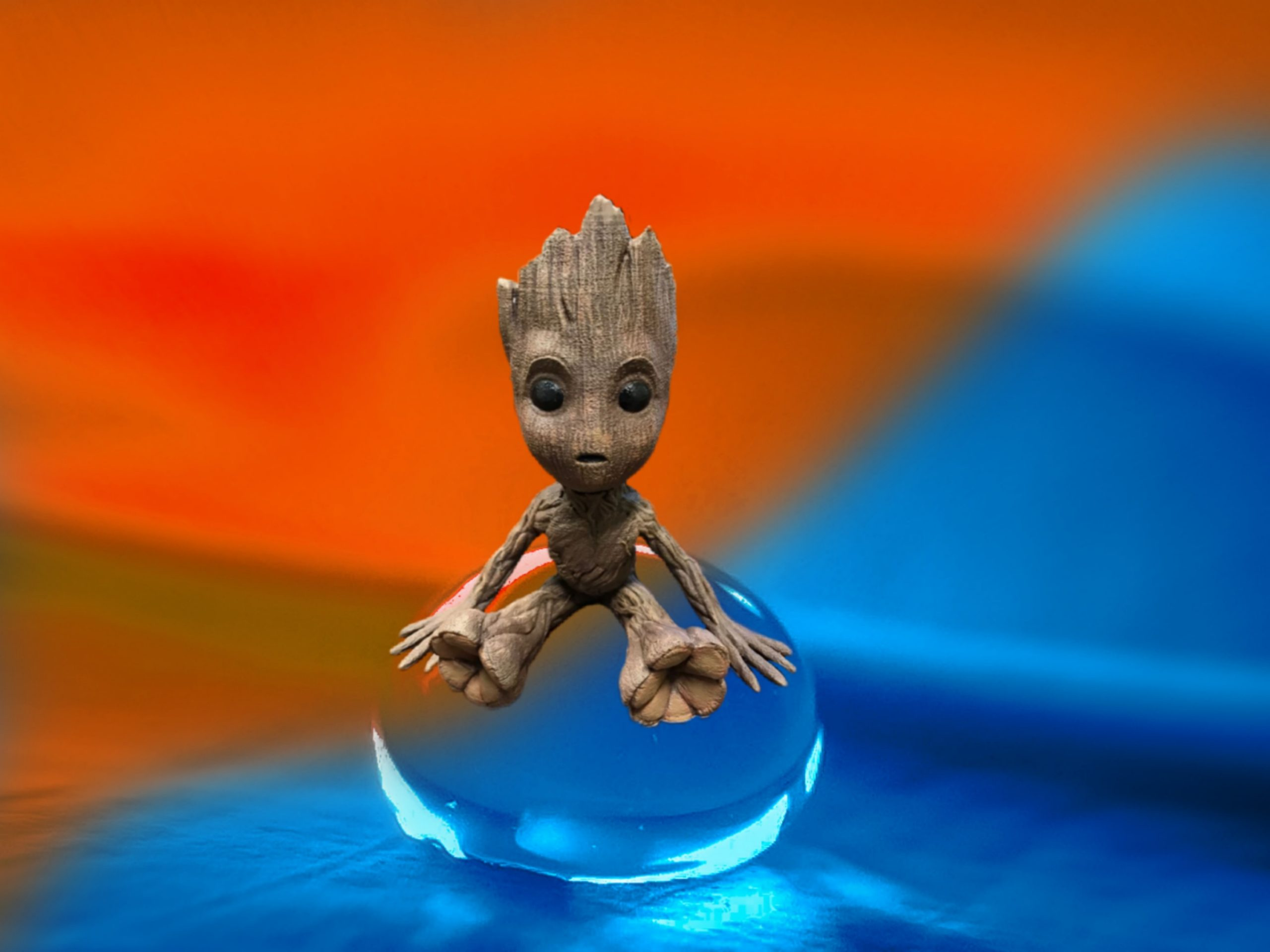 Fictional character Groot on a bubble