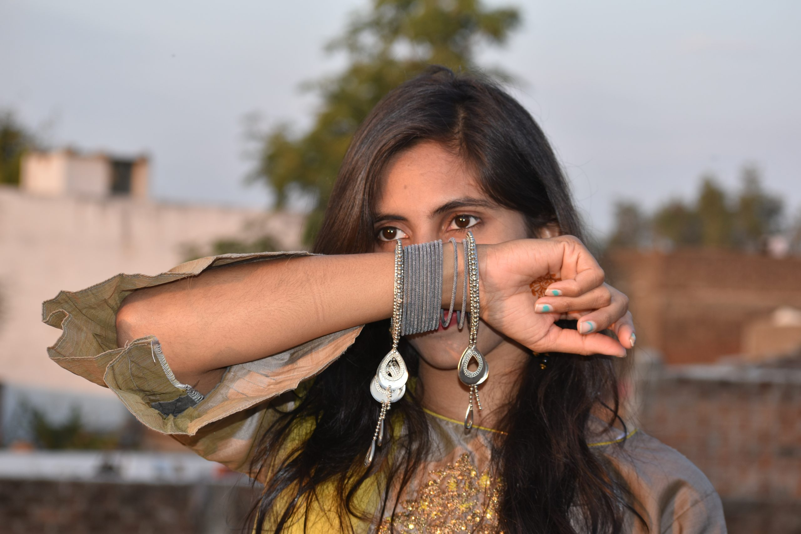 Girl showing bangles