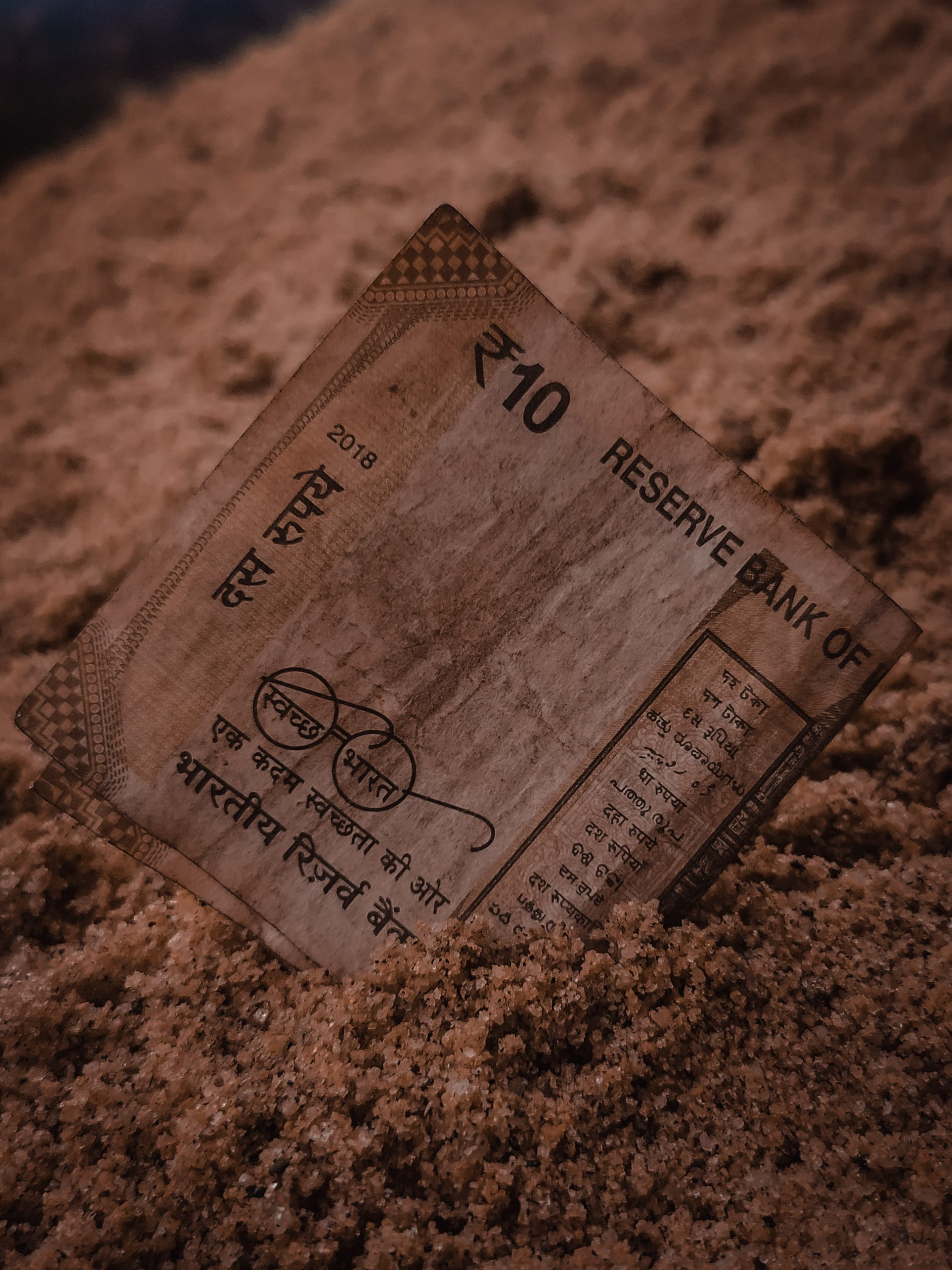 Indian currency 10 rupees note
