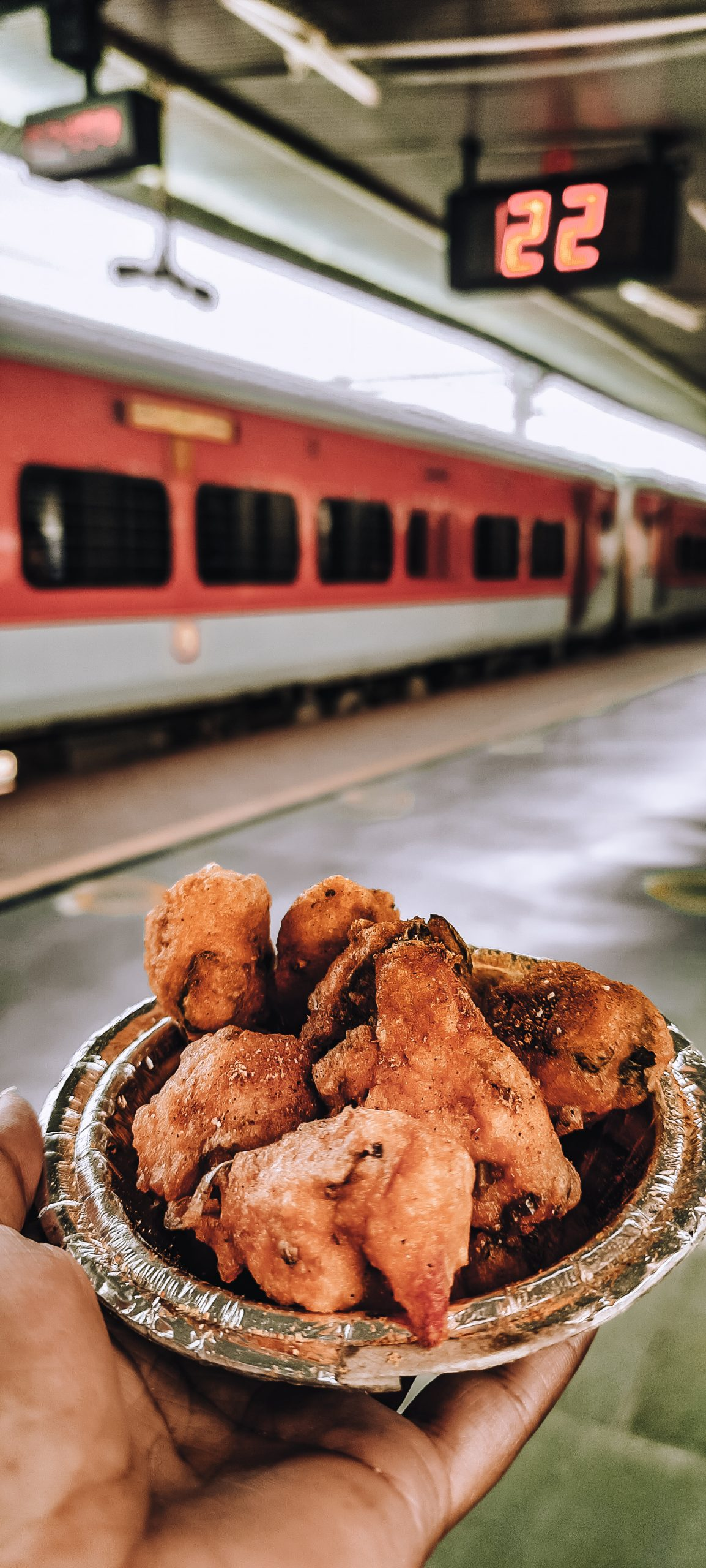 Snacks in the hand on railway station
