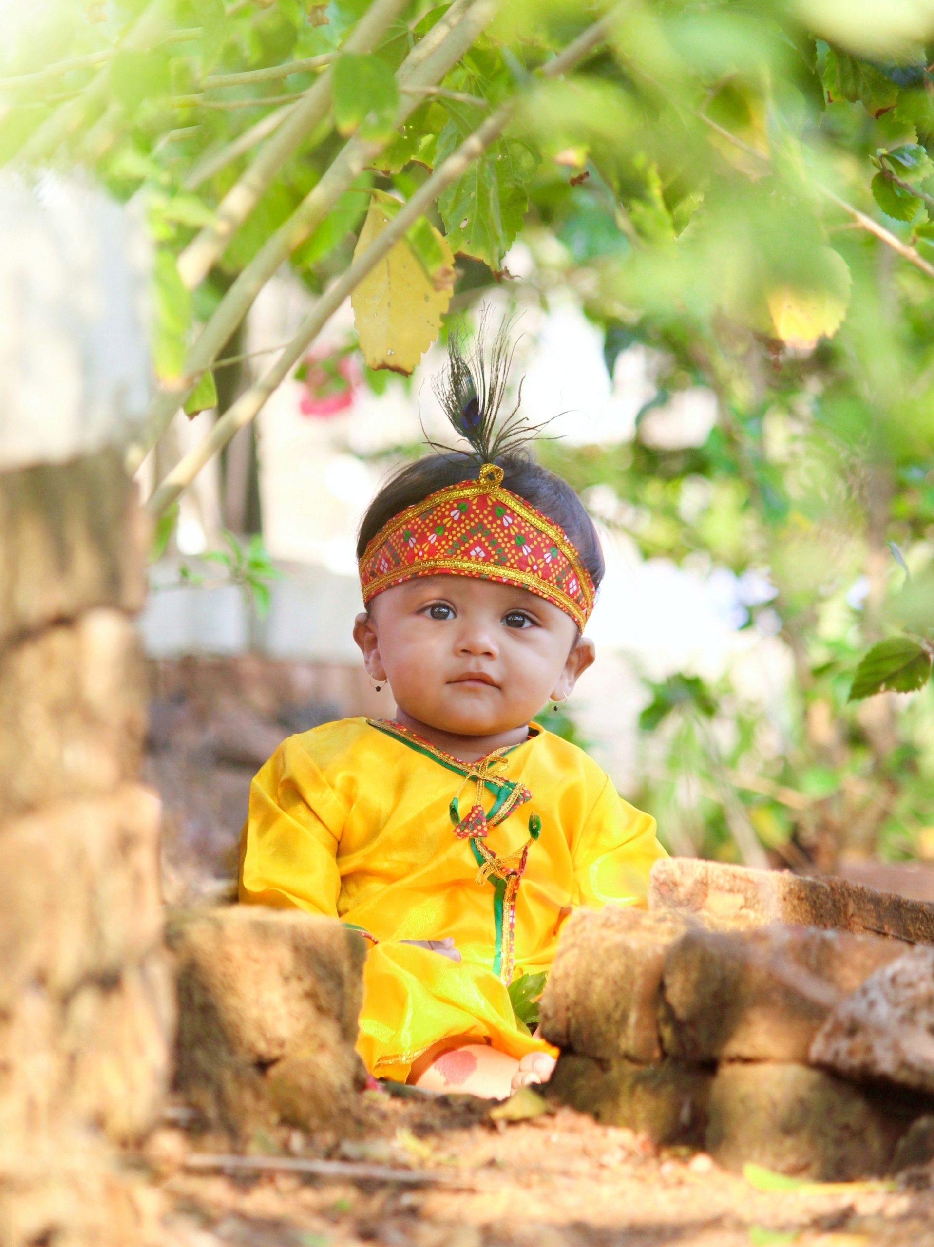 Little Kid in Krishna outfit
