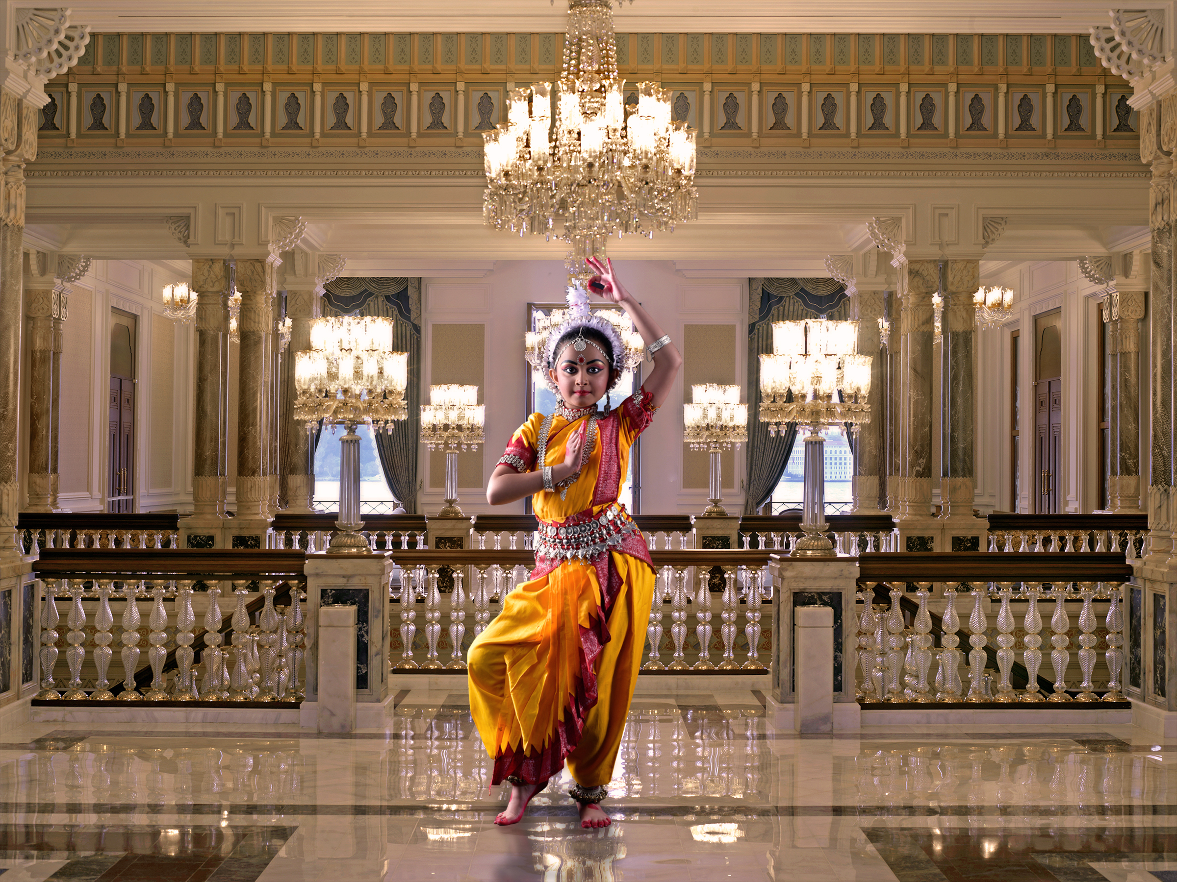 A female classical dancer in a palace