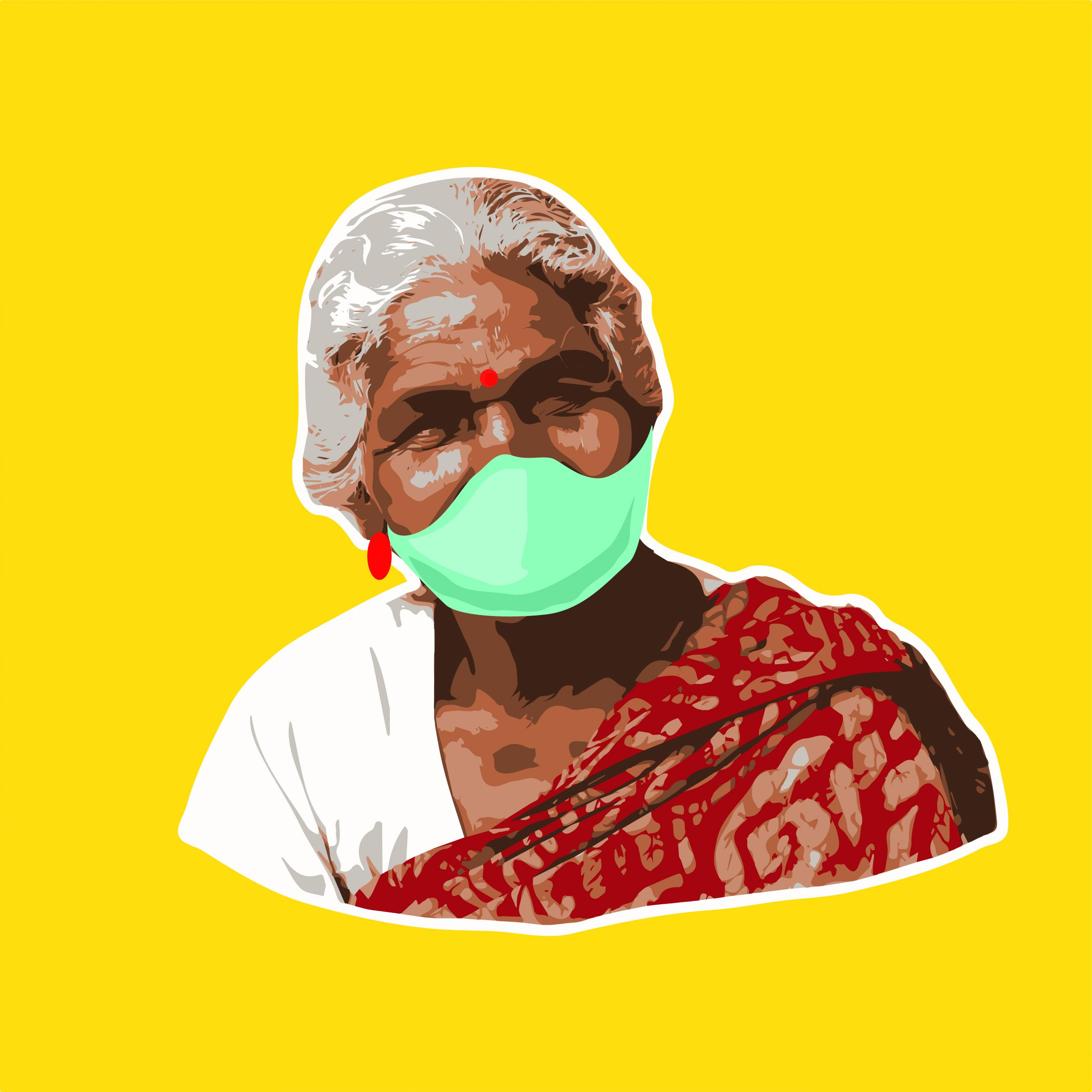Old lady face Portrait Illustration