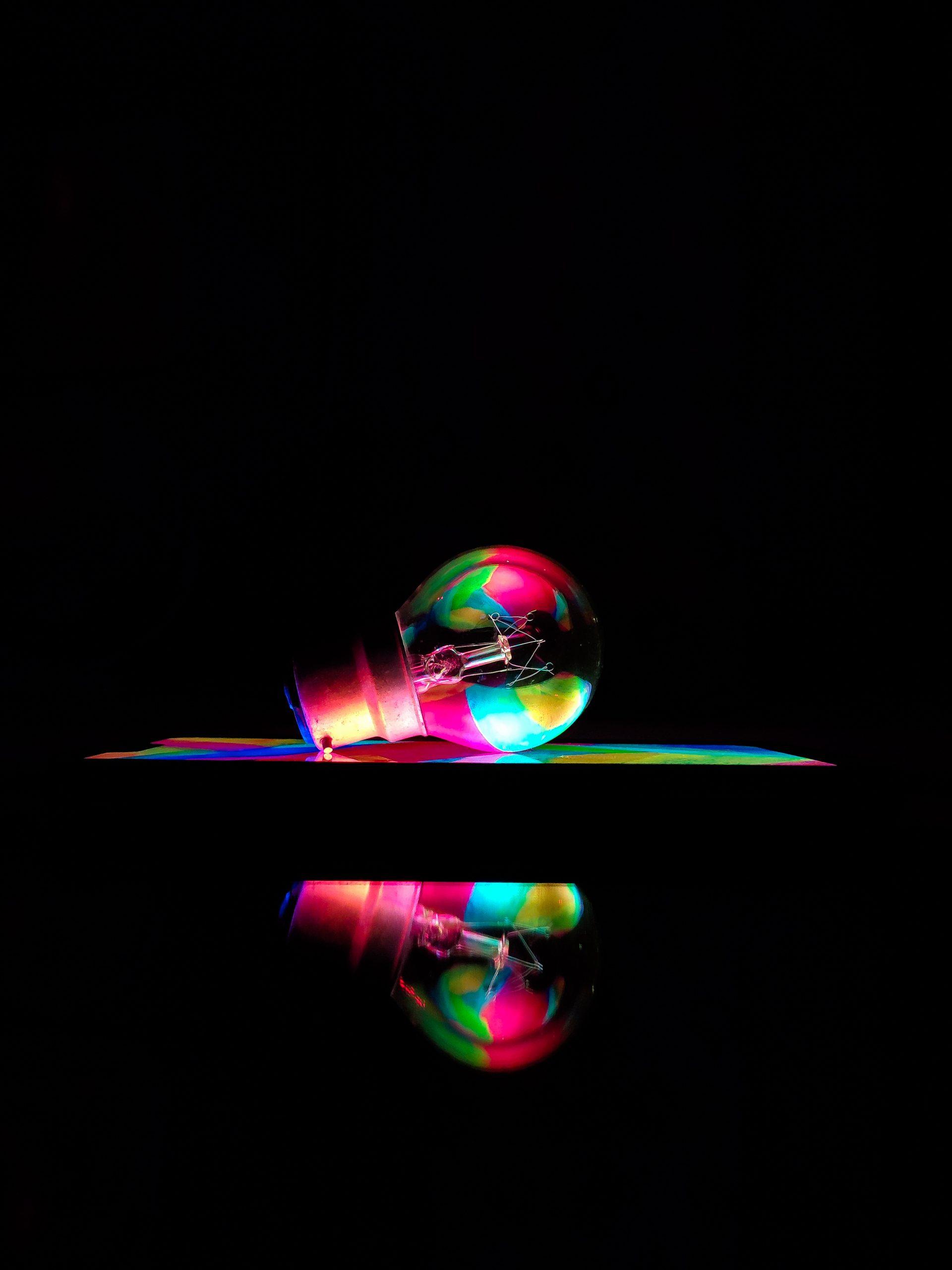 Reflection of a light bulb