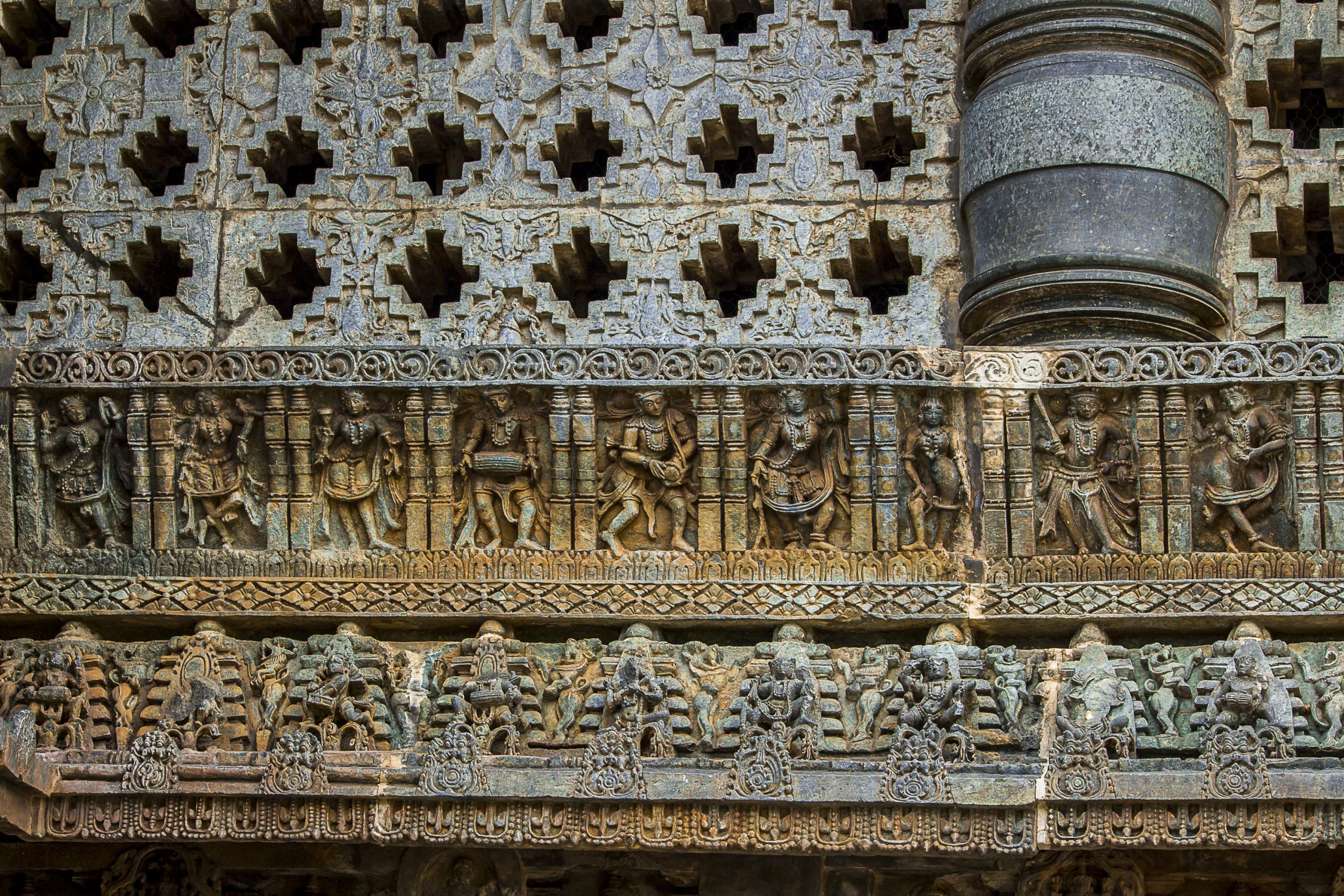 Stone carving in a temple in Halebeedu