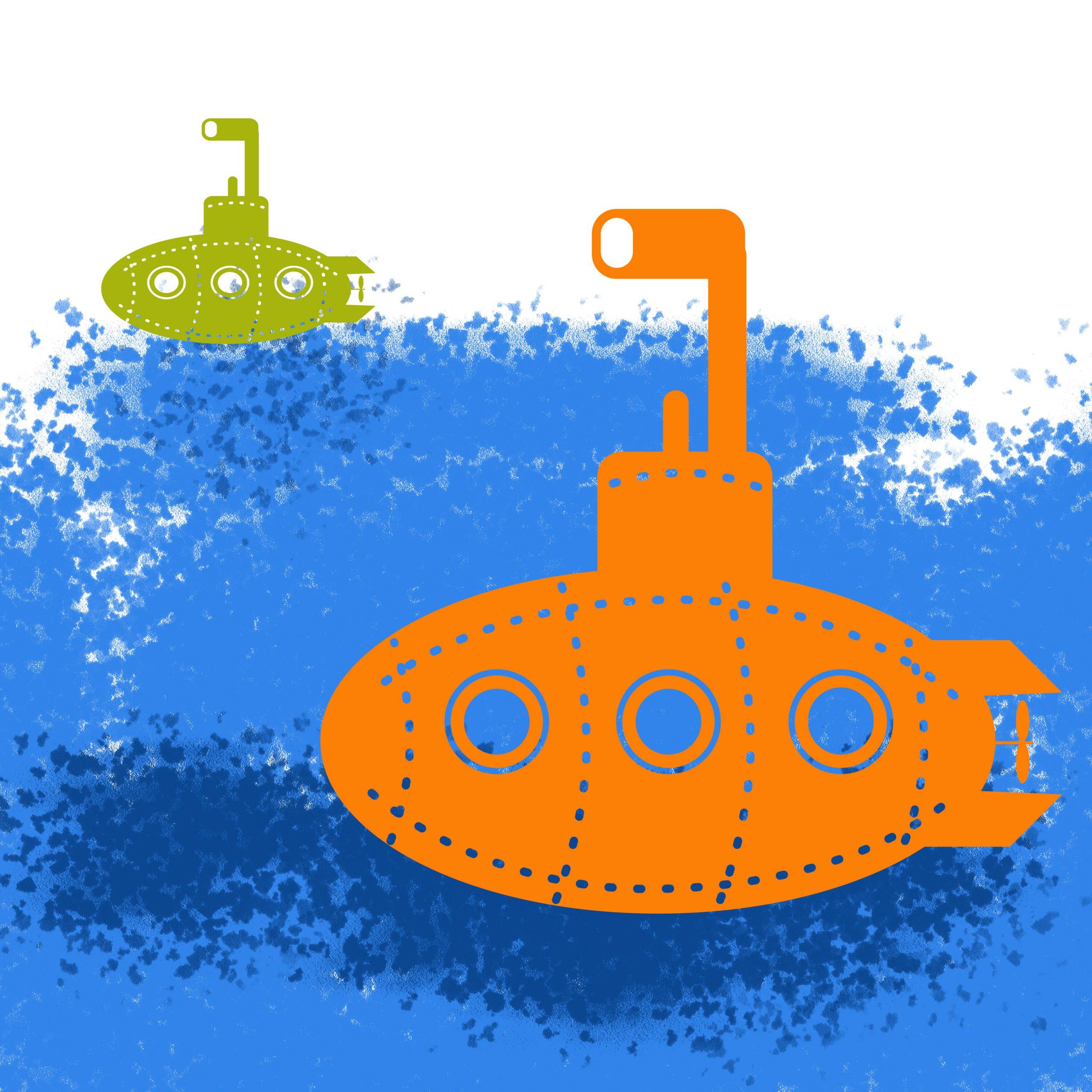 Submarine in water illustration