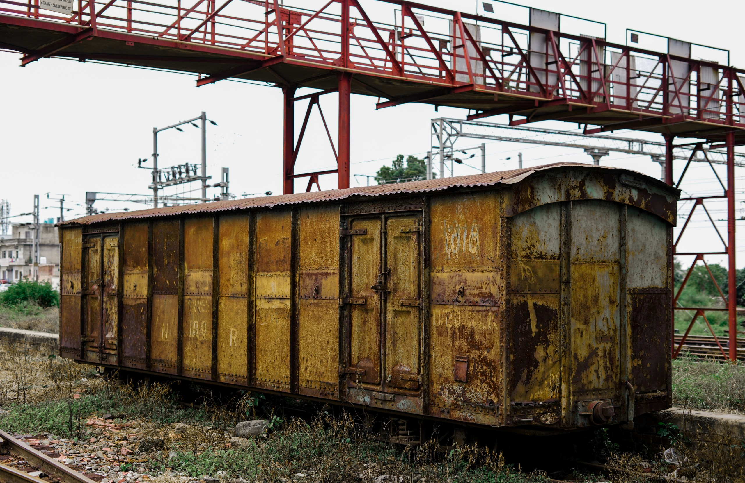 Old Rusted Train Bogie Yellow